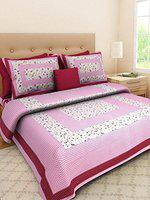 YonoCart 100% Cotton Traditional Size 90*100 inch Double Bedsheet with 1 Bed Sheet and 2 Pillow C-Green Multi Color (Pink)