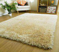 Waco Creation Carpet Super Modern Shag Area Silky Smooth Rugs Fluffy Rugs Anti-Skid Shaggy Area Rug, Bedroom Carpet Pile Hight 2inch, 5.8 cm (3 X 5, Cream)