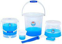 XSOURCE Rio Polypropylene Bathroom Set Transparent with attractive colors (6 Pcs-18L Set, Blue)