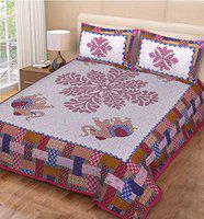 Miyanbazaz textiles Double Bedsheet with 2 Pillow Cover- Pink Multi