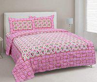 OCV Presents Beautiful Exclusive Printed King Size Double Bedsheet 100% Fast Color & 100% Pure Ethnic South Cotton with 2 Pillow Covers