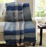 Rhome Acrylic Textured Soft Decorative Woven Knitted Throw Blanket, 55 x 63 inch, Multicolor.