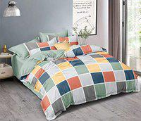 Loomsmith 250 TC Glace Cotton AC Comforter Set for King Size Double Bed (1 Comforter + 1 Bedsheet + 2 Pillow Covers)