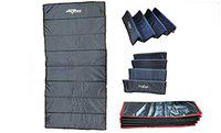 HeadTurners 10mm Leather Multi-Purpose Professional Yoga/Gym Fitness Foldable Mat for Men and Women-(Navy Blue and Leather)- with Cover