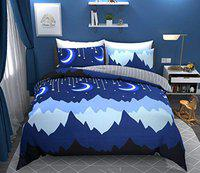 BSB Trendz 160 TC 100% Cotton Double Bed Moon Star Printed Bedsheet with 2 Pillow Covers, Color-Bluestar