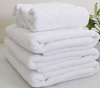 SHARABANI 100% Cotton White Bath Towel with Extra Large Size, Premium Quality & Smooth Touch