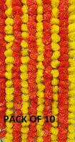 Improvhome Artificial Marigold Flowers Garlands for Decoration - Pack of 10 (5 Yellow + 5 Orange)