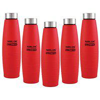 Nirlon Stainless Steel Single Wall 1000 ml Fridge Water Bottle Pack of 05 pcs, Gold