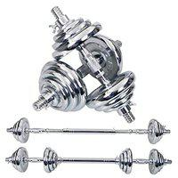 FITSY Adjustable Dumbbell Set - 20 kg Chrome Plated Iron Dumbbell Kit for Home Gym Workout with Extension Barbell Rod, Silver [AR-3358]