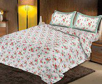 Healing Crystals India Luxury Double Bed 100% Cotton Printed Double Bedsheet 220 TC King Size with 2 Pillow Covers. (Multi 14)