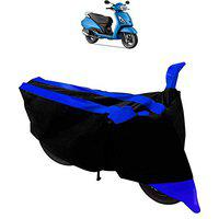 ADROITZ Blue & Black Matty Fabric Material Bike Body Cover with Mirror Pocket for TVS Jupiter