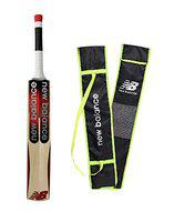 NB New Balance TC 460 Kashmir Willow Cricket Bat Full Size Thick Edges Short Handle Singapore Cane with Free Cover & Extra Grip
