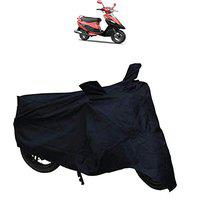 ADROITZ Bike Covers, Bike Body Cover with Mirror Pocket in Matty (Black) for TVS Scooty pep Plus_3691