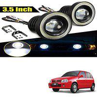 Allure Auto 3.5 High Power Led Projector Fog Light Cob with White Angel Eye Ring 15W,Set of 2 for Maruti Zen