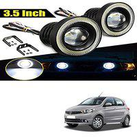 Allure Auto 3.5 High Power Led Projector Fog Light Cob with White Angel Eye Ring 15W,Set of 2 for Tata Tiago