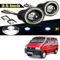 Allure Auto 3.5 High Power Led Projector Fog Light Cob with White Angel Eye Ring 15W,Set of 2 for Maruti Eeco