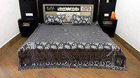 Peponi Jacquard 144 TC Cotton Double Bed Bed Sheet Cum Bed Spread with 2 Pillow Covers (Grey)
