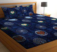 Amrange Pollycotton 3D Print Double bedsheet Along Along with 2 Pillow Cover (Size 90x90 Inch)