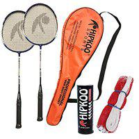 Hipkoo Sports Professional Badminton Kit (Wide Body Rackets Set of 2, 6 Feather Shuttles and Net) (Blue)