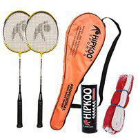 Hipkoo Sports Professional Badminton Kit (Wide Body Rackets Set of 2, 6 Feather Shuttles and Net) (Yellow)