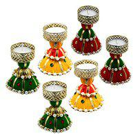 Saugat Traders Christmas Pillar Candle-Tealight Candle Holders for Home Decor-New Year-Wedding-Housewarming-Inauguration Parties-Multi-Color