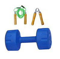 Monika Sports 5KG (1pc) PVC Dumbell with Wooden Rope & handgrip for Exercise Home Gym Kit
