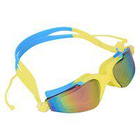 Arrowmax Swim Goggles Attached earplugs, Swimming Goggles No Leaking Anti Fog UV Protection with Free Protection Case for Adult Men Women Youth Kids Child, ASG-9200 (Yellow/Blue)
