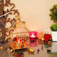 Webelkart Gold Color Square Metal Bird cage Tea Light Holder with Flower Vine & Tealight Glass for Home Decor