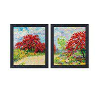 Random (RP- 1277) Multicolor Abstract Handmade Forest Beauty Paintings Set of 2 (12 X 14-2) (RP-1277)