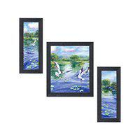 Random (RP-1401) Abstract Flying Birds with Nature Paintings, Set of 3, (6 X 14-2 & 12 X 14-1) Each