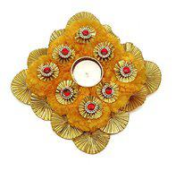 SATYAM KRAFT 5 x 5 Inch Diameter Square Hand Crafted Tealight Candle Holder,1 Piece (Tealight with genda phool Square)