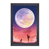Random (RP-2096) Girl with Dog in The Moonlight Painting, 12 inch X 18 Inch