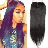 Thrift Bazaar Brazilian Straight Hair Closure Straight Weave Frontal Lace Closure Human Hair Extensions Top Lace Closure 8'' (Brown)