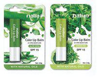 PARKONNMaliao Lip Balm used while Sleeping for Dry & Chaped Lips for 24 Hrs Moisture SPF 15 (2 Aloe Vera & 2 Green Tea, Pack Of 4 - 3.8 gm each)