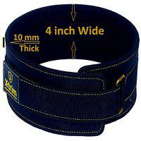 Xtrim Dura Belt-4 Wide-10MM Thick-Unisex-Gym Fitness Weightlifting Belt-Foam Padded-Moisture Wicking Lining-Self Locking Buckle-Washable-Stabilizing Back Support for Heavy Lifting (Black, Large)