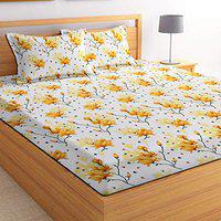 BSB HOME 3D Printed 144 Tc Microfiber Double Bedsheet with 2 King Size Pillow Covers (White and Yellow Flower, 90X90 Inches)