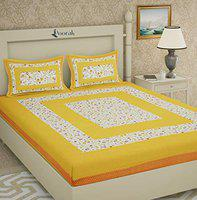 Poorak King Size Double bedsheet with Pillow Cover Cotton - Phool Yellow Bad Sheet , Size -7.65 ft x 6.9 ft