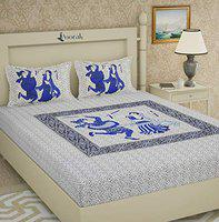 Poorak King Size Double bedsheet with Pillow Cover Cotton - Dance Blue Bad Sheet , Size -7.65 ft x 6.9 ft