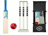 MPRT Wooden Cricket kit for All Age Groups and Sizes (1 Piece Cricket Bat, 3 Piece Wickets, 1 Piece Base, 2 Piece Bails, 1 Piece Ball, 1 Piece Kit Bag) (Size 3 for Age Group 6-9 Years)