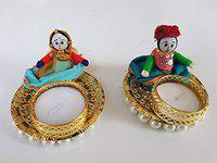 Diya Home Rajasthani Handmade Puppet Style Tealight Candle Holder for Home Decor Diwali Set of 2 Candle Free (Sitting Puppets, 1)