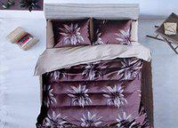Peponi 190TC Glace Cotton Supreme King Size Double Bed 108 inch x 108 inch Bedsheet with 2 Pillow Covers - Purple