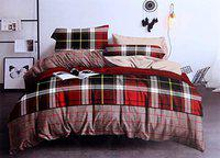 Peponi 190TC Glace Cotton Supreme King Size Double Bed 108 inch x 108 inch Bedsheet with 2 Pillow Covers - Red & Checkred