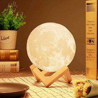 Galaxy 3D 7 Color Changing Moon Night Lamp with Stand for Bedroom Lights for Adults and Kids Home Room Beautiful Indoor Lighting - 15CM