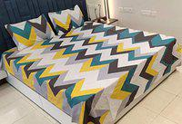 Griiham Cotton 160TC Queen Size Double Bedsheet with 2 Pillow Covers - Multicolour Abstract