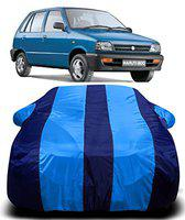 AUCTIMO Prime Quality 190T Imported Fabric Car Cover for Maruti Suzuki 800 with Ultra Surface Body Protection (Blue Stripes)