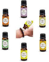 All Naturals Aromatherapy Brown Bracelet with Pure Undiluted Essential Oils Combo (Sweet Orange, Lavender Himachal, Lemon, Peppermint, Ylang , Frankincense) - Set of 6 - 15 ml Each