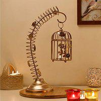Homesake Metal Bird Cage with Table Stand Light Antique Diwali Showpieces for Home Decor tealight Candle Holders