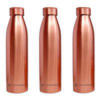 DUVERRA Pure Copper Water Bottle 1 Litre with Leak Proof Cap, Joint Free 1000 ml Bottle for Ayurvedic Health Benefits Best for School, Office, Sports, and Yoga Pack of 3