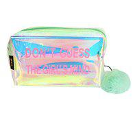 STRIPES Waterproof PVC Transparent holographic Make up Pouch (Light Green)