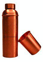 DUVERRA Pure Copper Water Bottle and Copper Tumbler Engraved & Antique Design 850 ml with Leak Proof Cap, Joint Free Bottle for Ayurvedic Health Benefits Best for School, Office, Sports, Yoga